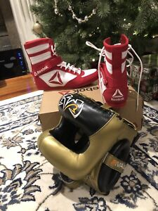 Brand new boxing shoes and headgear