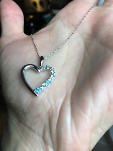 White Gold Diamond Gem Heart Necklace