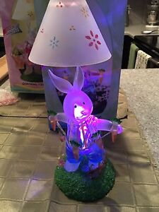 Boy Bunny Tealight Lamp with lighted base