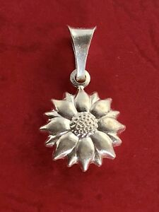 New! Sterling silver sunflower pendant charm