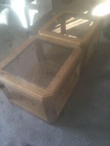 2 glass too end tables