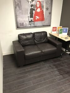 Brown leather couch sofa