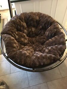 Papasan chair - like new - dark chocolate brown (microfibre)