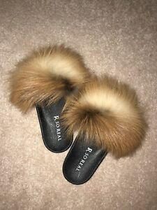 BRAND NEW RED FOX AUTHENTIC FUR SLIDES