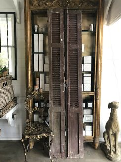 Pair Set of French Style Vintage Timber Louvre Doors Shutters