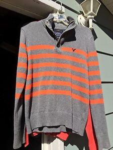 Men's American Eagle grey and orange sweater - size M