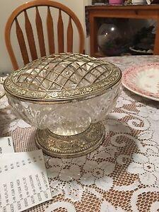 Sterling silver and Crystal flower vase