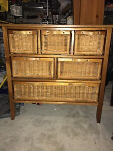 Storage unit with wicker drawers-solid wood