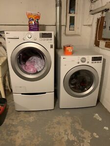 LG White 3-Piece Washer and Dryer System (w Pedestal Washer)