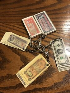 Vintage money currency keychains