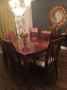 Dining table + 8 chairs + custom glass protector