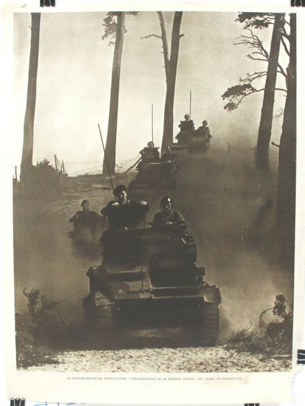 WWII Poster  British Tank Corps Perfecting Organization of Mobile Defenses 1940s