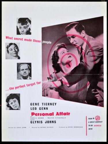PERSONAL AFFAIR 1953 Leo Genn, Gene Tierney, Glynis Johns ADVERT