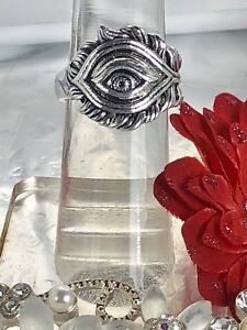 New! Silver coloured evil eye ring size 6.5