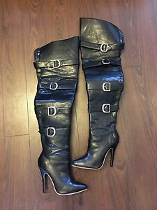 Thigh high black faux leather boots size 7 1/2