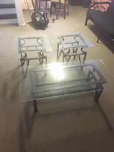Glass top coffee and side tables