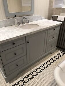 "62 "" Bathroom vanity - toilets - pedestal sink - granite"