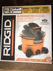 Sealed Rigid Wet/Dry Blower Vac - 5HP/12gal + bonus