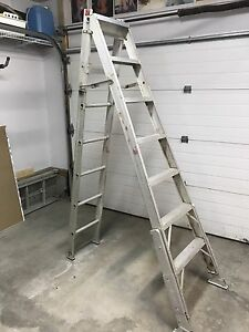 3 way 8' aluminum ladder w/adjustable feet