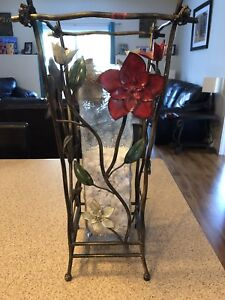 Metal Floral vase with glass insert