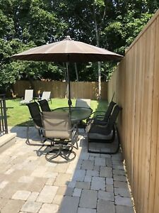 D.O.T Patio Set with 6 Chairs and Umbrella