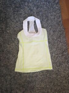 Green and White striped Lululemon tank top