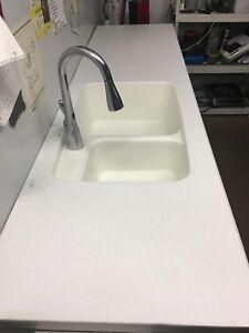 White counter top white Moen motion sense tap 200 obo