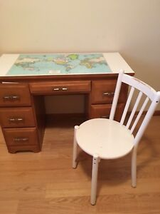 Solid wood desk with map