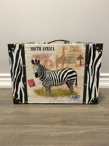 African zebra decor suitcase