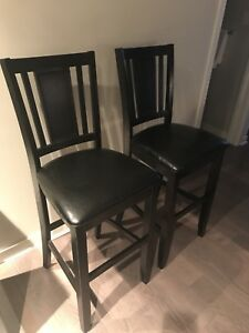 4 black/brown leather bar chairs