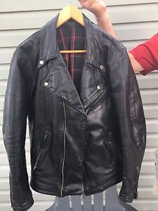 Leather motorcycle jacket and helmets