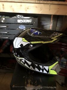 Motocross boots and helmet