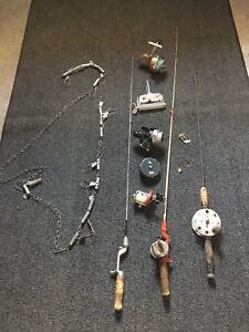 Fishing Tackle Box/Chain & Vintage Rod/Reels