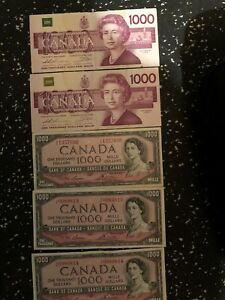 6 $1000 Canadian Bills will trade for gold and/or silver