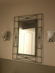 Miror, toilet paper holder and towel ring