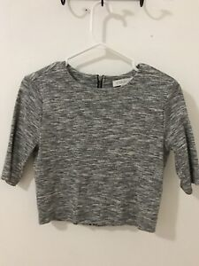 GREY SALT AND PEPPER CROPPED TOP