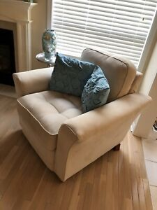 Cream microsuede accent arm chair