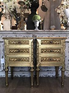 Pair of Gold Gilt French Louis XVI Style Vintage Bedside Tables Richmond Hawkesbury Area Preview