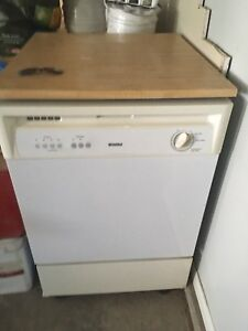 Kenmore portable dishwasher with wood top -white