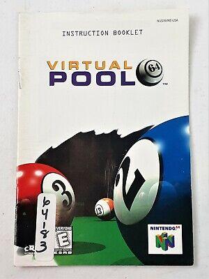 Virtual Pool Original N64 Instruction Manual Booklet ONLY Nintendo 64