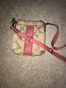Coach crossbody pink and beige
