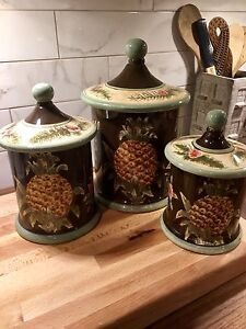 PINEAPPLE Canisters -Set 3 with Lids (Homesense)