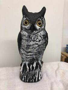 Three Plastic owls for lawn use