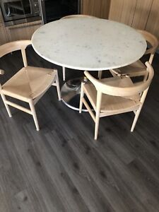 CB2 Hackney marble dining table brand new with free chairs