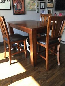 Pub height extendable dining table with 6 chairs