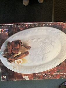 Ceramic Embossed Turkey Platter