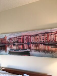 Canvas art city on water