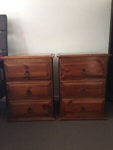 2x stained timber brown bedside tables Manly West Brisbane South East Preview