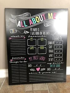 'All About Me' chalkboard
