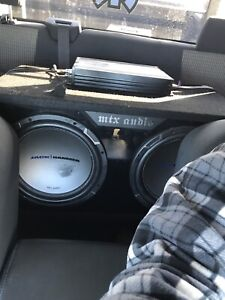 """2 12"""" mtx subs in mtx box and new amp"""